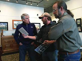 Senator Mark Udall meets with local officials at the Palace Hotel in Salida, as part of his announcment that he will be introducing his Browns Canyon bill in Congress next week.